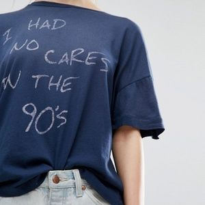 Wildfox i had no cares in the 90s blue t shirt L